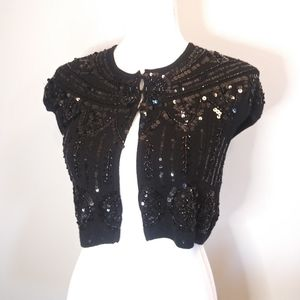 Nanette Lepore Merino Wool Sequin shrug sweater S